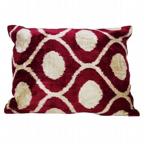 Silk Velvet Cushion -  Claret & Stone